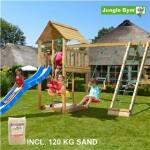 Legetårn komplet Jungle Gym Cabin inkl. Climb module x'tra, 120 kg sand og blå rutschebane