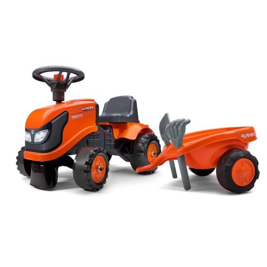 Traktor med trailer, rive og skovl FALK Baby Kubota