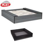 NORDIC PLAY Sandkasse med sæder WPC 120 x 120 cm inkl. net