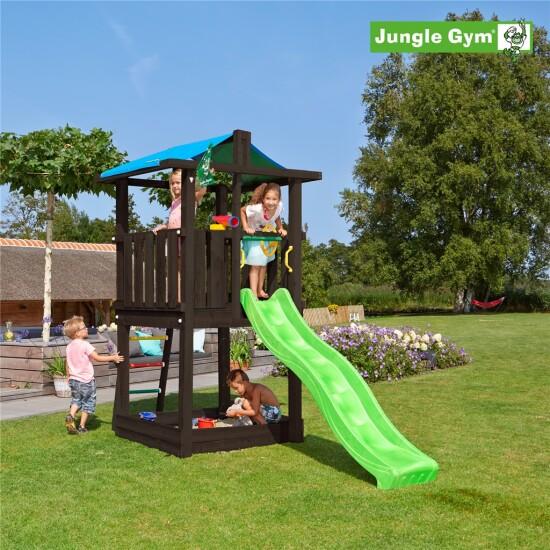 Legetårn komplet Jungle Gym Hut inkl. rutschebane, grundmalet sort