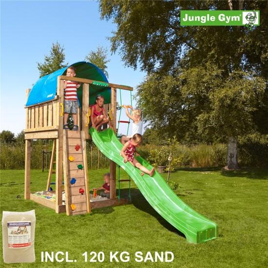 Legetårn komplet Jungle Gym Villa inkl. 120 kg sand og grøn rutschebane