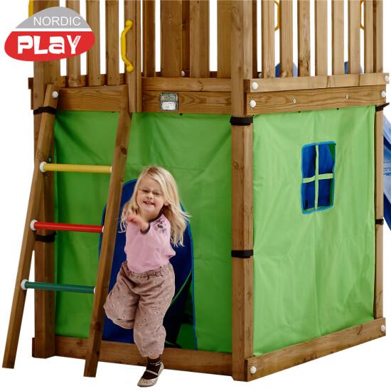 NORDIC PLAY Telt til Hut legetårn grøn/blå