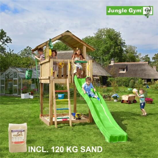 Legetårn komplet Jungle Gym Chalet inkl. 120 kg sand og grøn rutschebane