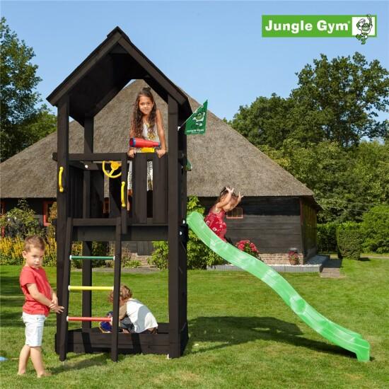 Legetårn komplet Jungle Gym Club ekskl. rutschebane, grundmalet sort