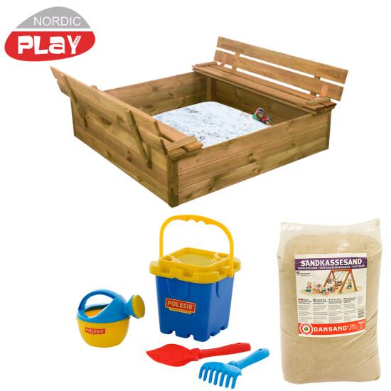 NORDIC PLAY Sandkasse med bænk & låg 120x120 cm, med 240 kg sand og blåt strandsæt