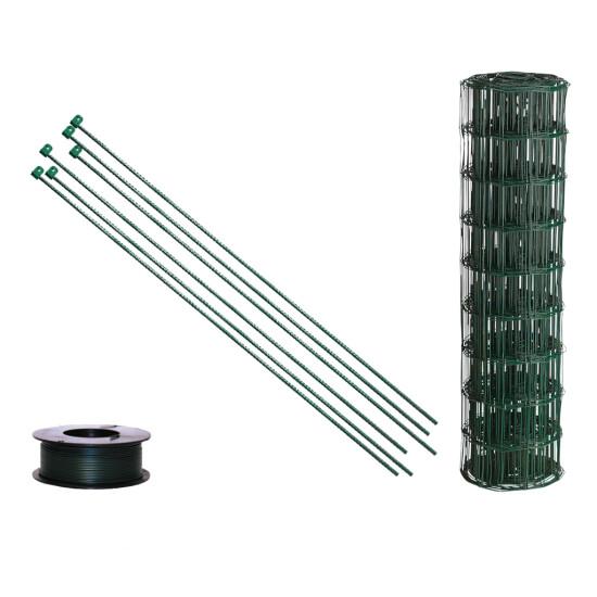 Havehegnspakke 10 x 10 cm, 60 cm, x 25 m, m/tentorpæle grøn