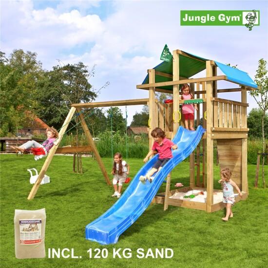Legetårn komplet Jungle Gym Fort inkl. Swing module x'tra, 120 kg sand og blå rutschebane