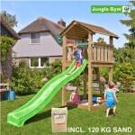 Legetårn komplet Jungle Gym Cottage inkl. 120 kg sand og grøn rutschebane