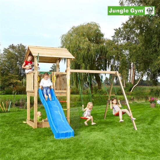 Legetårn komplet Jungle Gym Casa inkl. Swing module x'tra ekskl. rutschebane