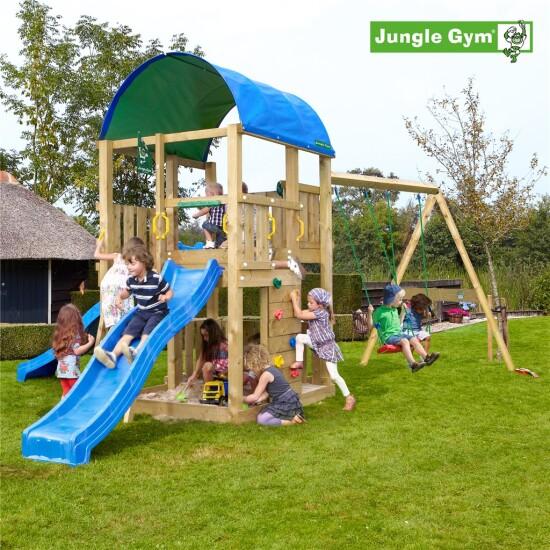 Legetårn komplet Jungle Gym Farm inkl. Swing module x'tra ekskl. rutschebane
