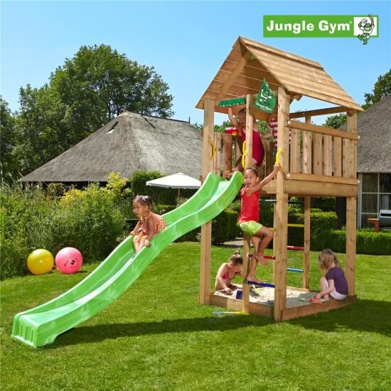 Legetårn komplet Jungle Gym Cabin ekskl. rutschebane