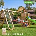 Legetårn komplet Jungle Gym Cubby inkl. Climb module x'tra, 120 kg sand og grøn rutschebane