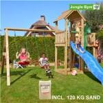 Legetårn komplet Jungle Gym Mansion inkl. Swing module x'tra, 120 kg sand og blå rutschebane