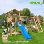 Legetårn komplet Jungle Gym Chalet inkl. Climb module x'tra, 120 kg sand og blå rutschebane