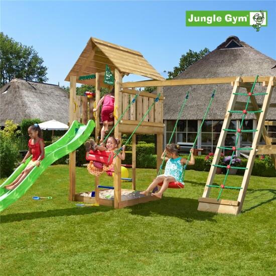 Legetårn komplet Jungle Gym Cabin inkl. Climb module x'tra ekskl. rutschebane