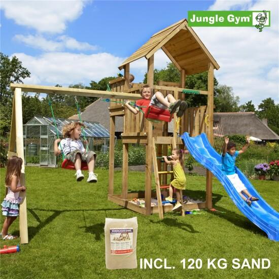 Legetårn komplet Jungle Gym Palace inkl. Swing module x'tra, 120 kg sand og blå rutschebane