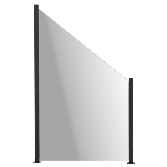 Glashavehegn med aluskinne 150/100 x 100 cm, røgfarvet