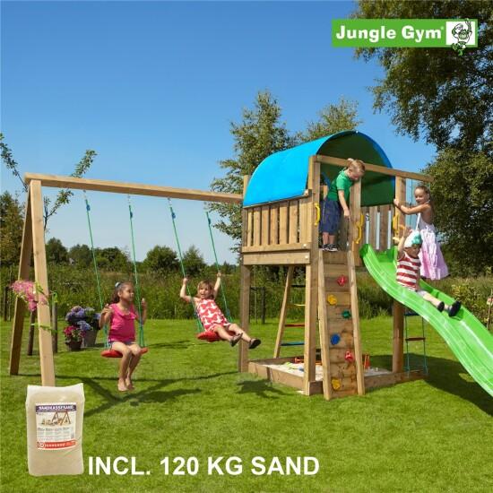 Legetårn komplet Jungle Gym Villa inkl. Swing module x'tra, 120 kg sand og grøn rutschebane