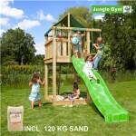 Legetårn komplet Jungle Gym Lodge inkl. 120 kg sand og grøn rutschebane